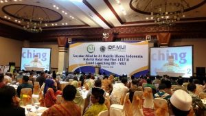 Ketua Umum MUI Pusat KH Makruf Amin menyampaikan pidato sambutan pada Tasyakur Milad MUI ke-41 di Jakarta, Kamis malam (04/08)